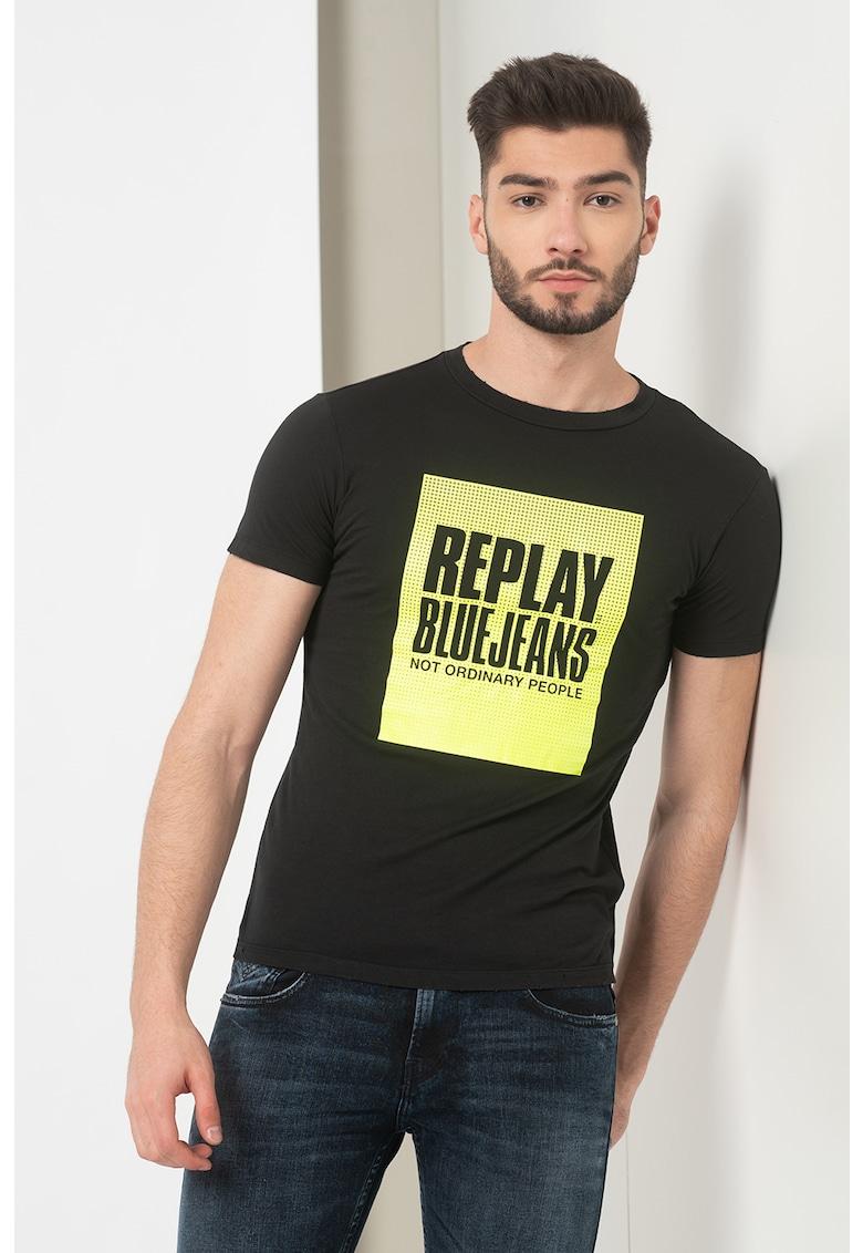 Tricou cu decolteu la baza gatului si imprimeu logo de la Replay