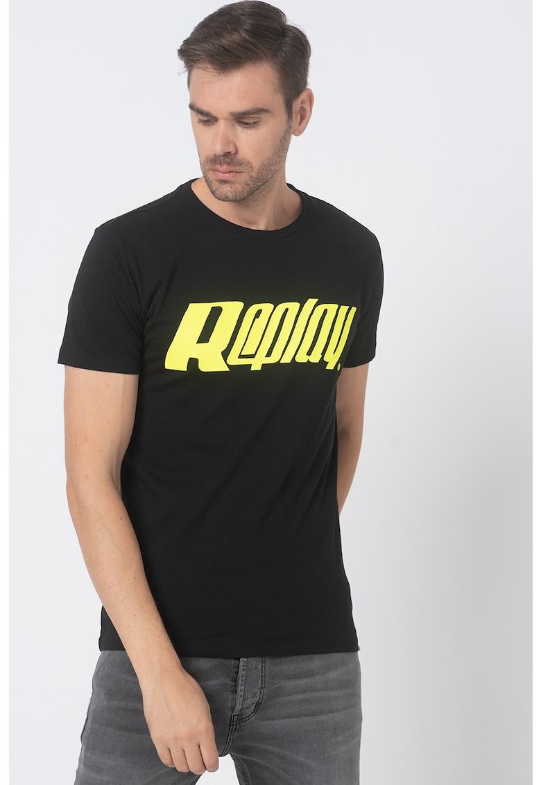 Tricou cu decolteu la baza gatului si logo de la Replay