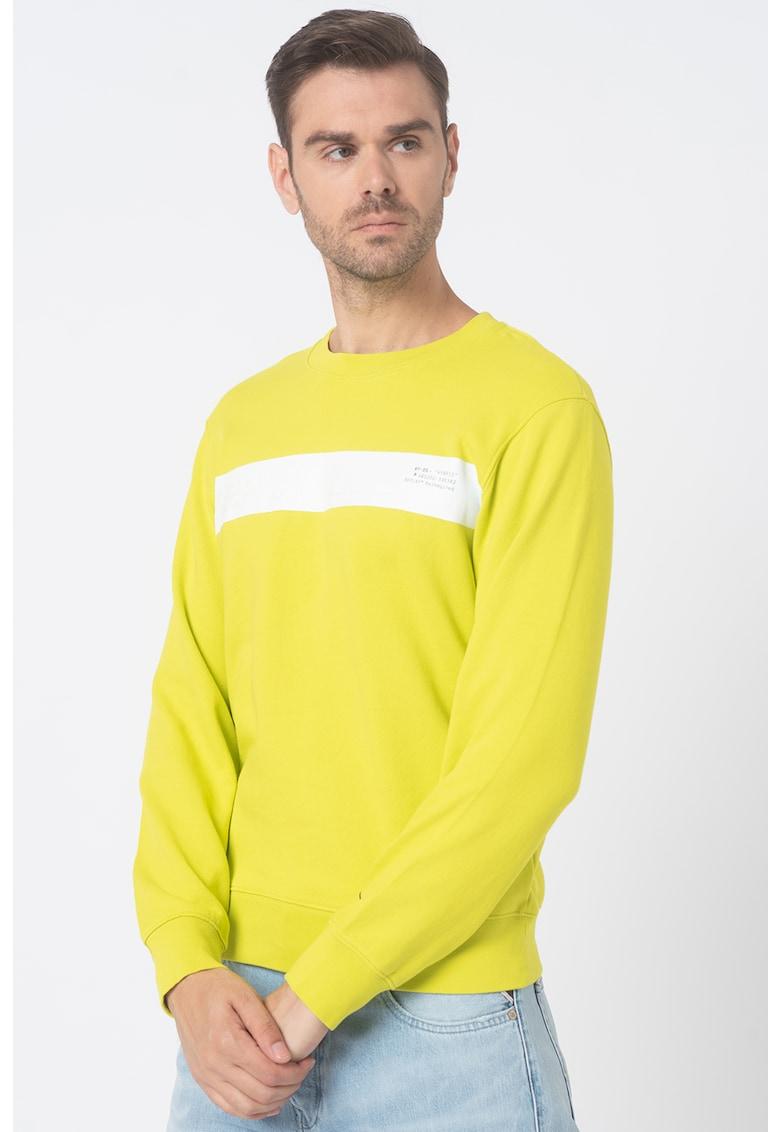 Bluza sport cu decolteu la baza gatului si model colorblock