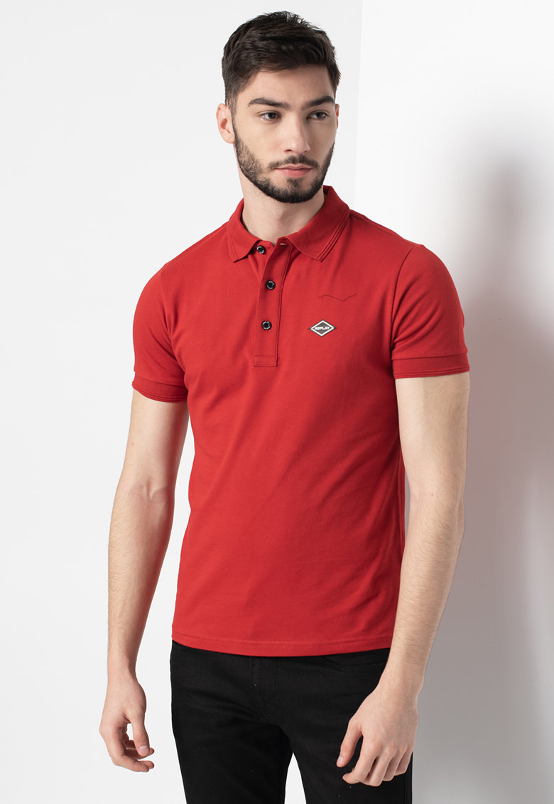 Tricou polo din pique cu logo discret imagine