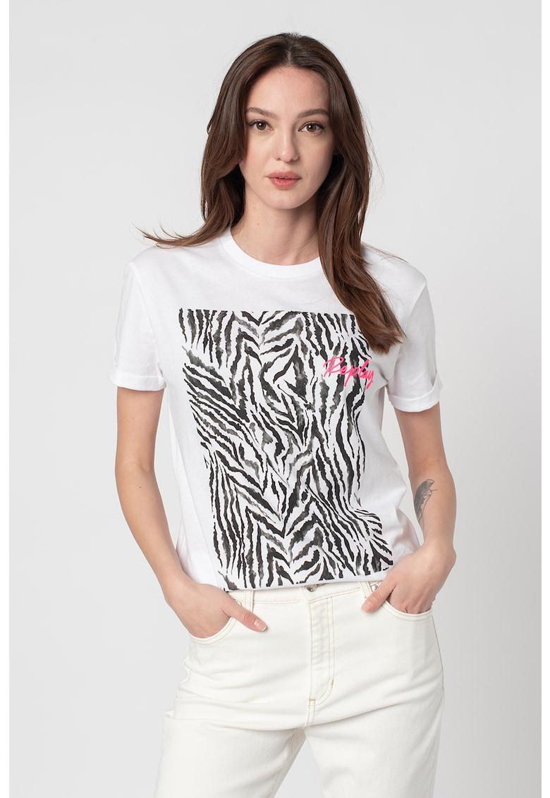 Tricou cu decolteu la baza gatului si model animal print de la Replay