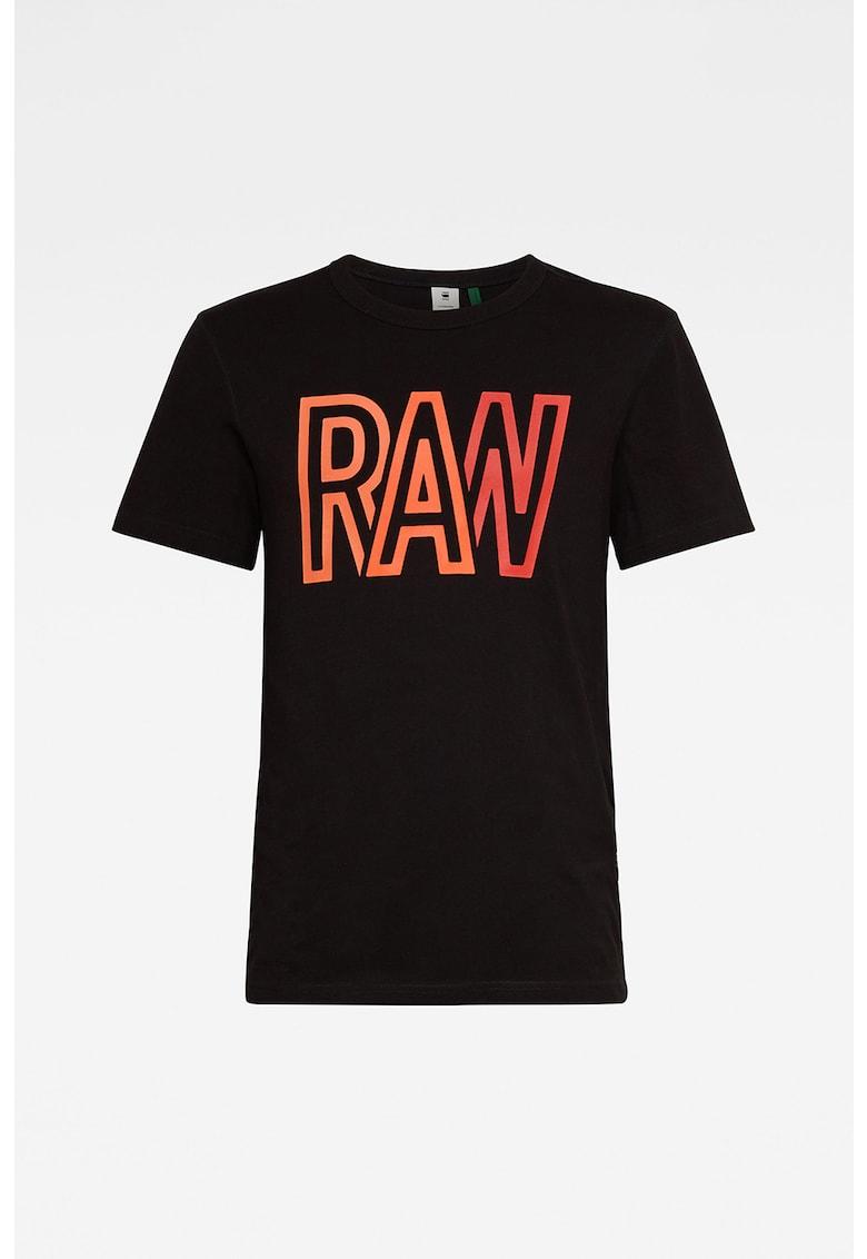 Tricou cu decolteu la baza gatului si imprimeu logo Bărbați imagine