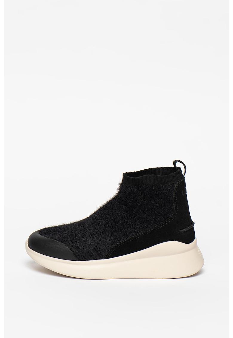 Pantofi sport din plasa tricotata si piele intoarsa cu constructie tip soseta Griffith imagine promotie