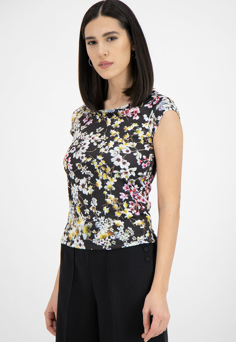 Tricou cu model floral Lyroon imagine promotie
