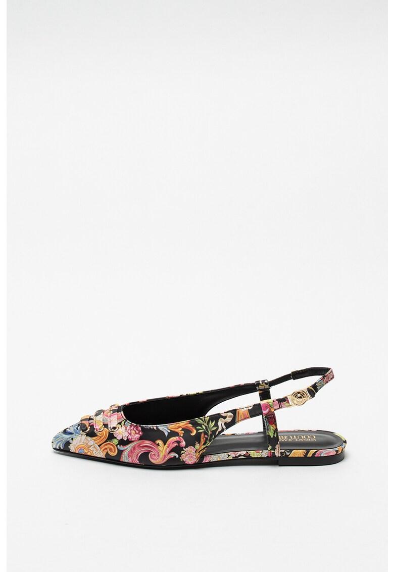 Pantofi slingback din satin cu imprimeu Audrey fashiondays.ro