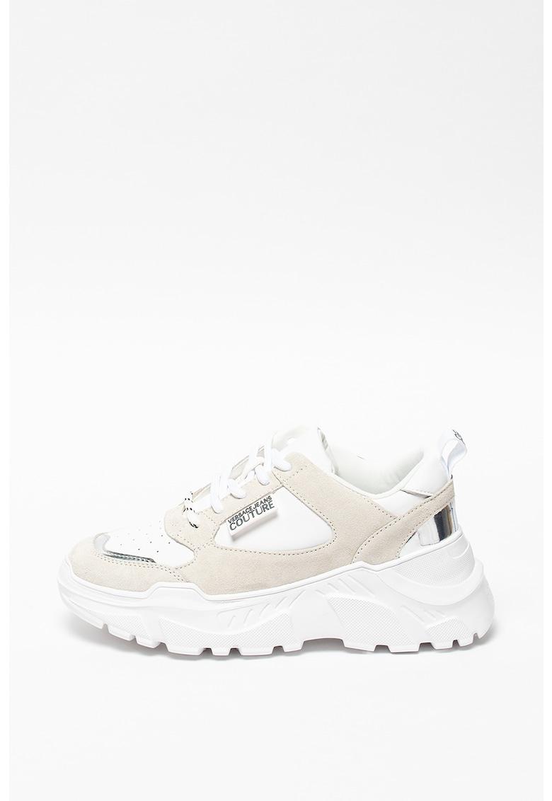 Pantofi sport cu talpa wedge - insertii din piele si piele intoarsa