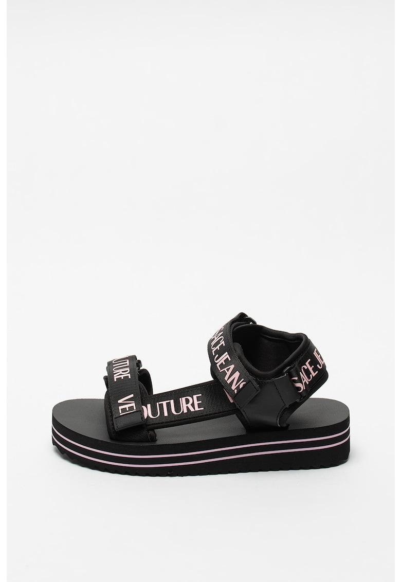 Versace Jeans Couture Sandale din material textil cu aplicatii logo