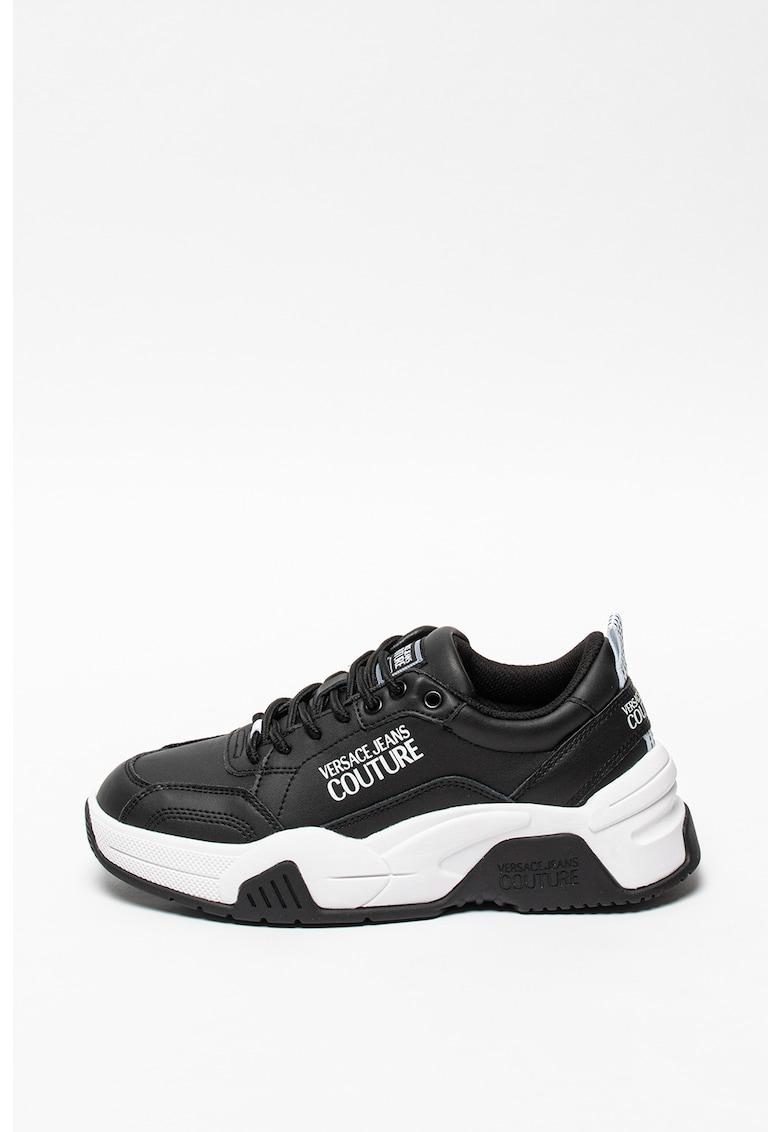 Pantofi sport din piele cu aspect masiv si insertii din piele ecologica