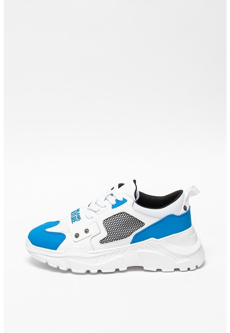 Pantofi sport din piele si piele ecologica cu insertii cu material textil