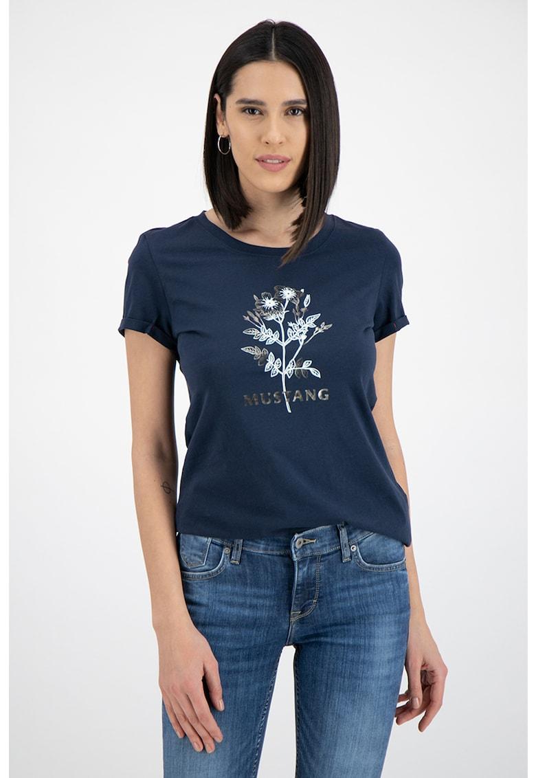 Tricou cu decolteu la baza gatului si imprimeu Alexia fashiondays.ro