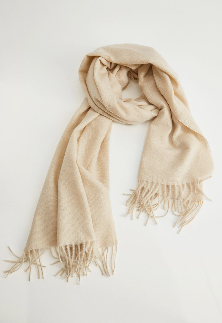 Fular din amestec de lana cu franjuri Lovy imagine