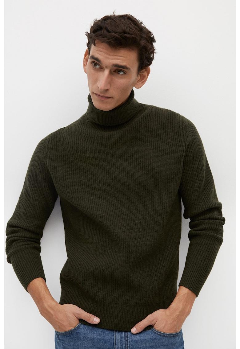 Pulover din amestec de lana - cu guler inalt si aspect striat Parkt