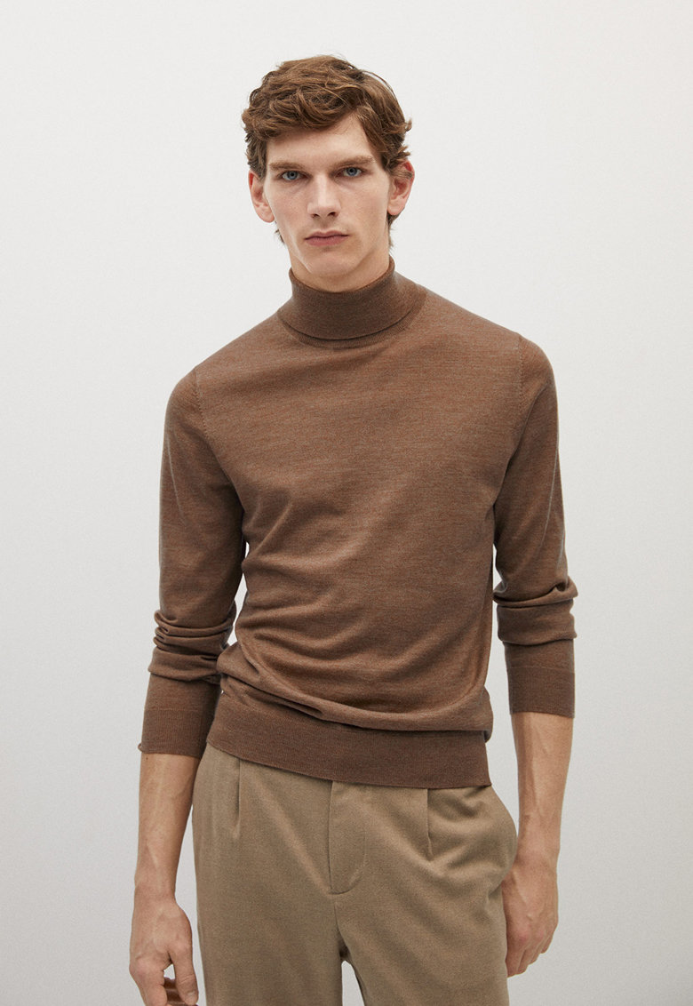 Pulover de lana Merinos cu guler inalt Willy poza fashiondays