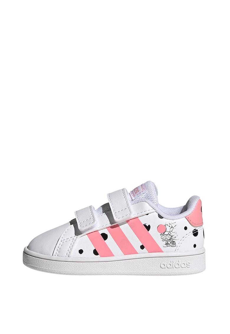Pantofi din piele ecologica cu inchidere velcro si imprimeu cu Minnie Mouse Grand Court fashiondays.ro