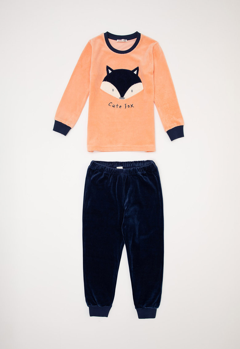 Pijama cu imprimeu si aspect catifelat imagine