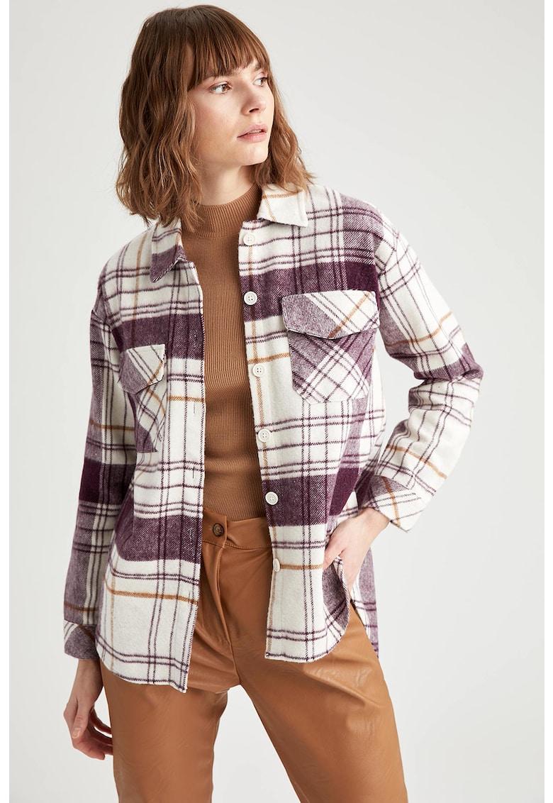 Jacheta tip camasa in carouri cu buzunare pe piept imagine fashiondays.ro
