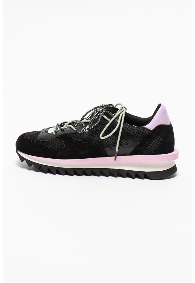 Pantofi sport de piele si piele intoarsa cu insertie de plasa Erica