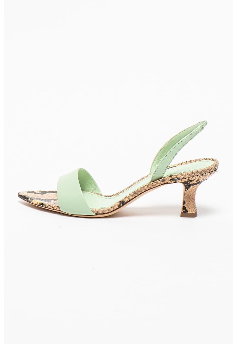 Sandale slingback de piele cu detalii cu aspect de piele de sarpe Orchid
