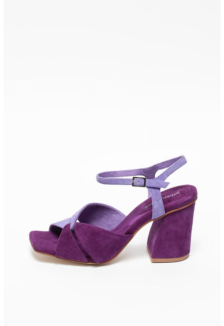 Sandale de piele intoarsa cu toc masiv Antique Jeffrey Campbell fashiondays.ro
