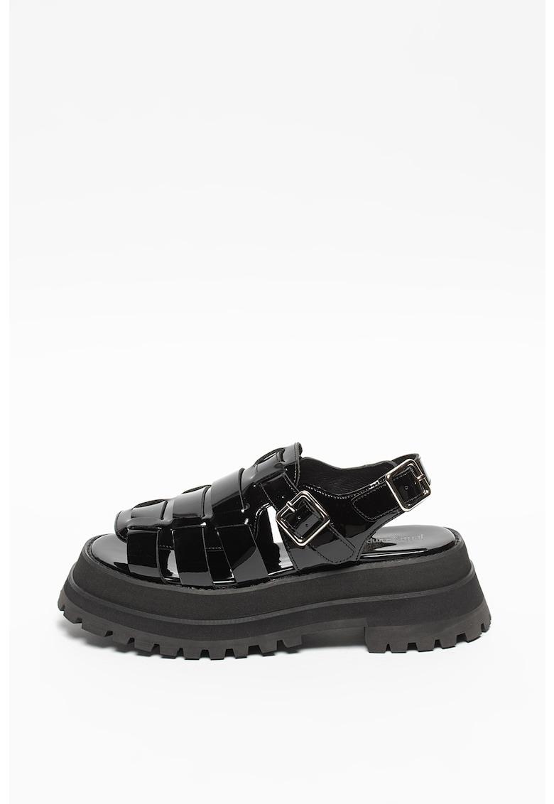 Sandale de piele lacuita cu aspect masiv Mobscene