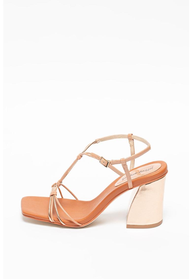 Sandale de piele ecologica cu bareta T Floweret
