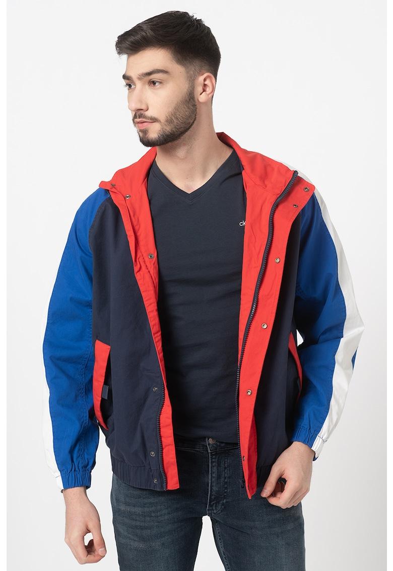 Jacheta de bumbac organic cu model colorblock