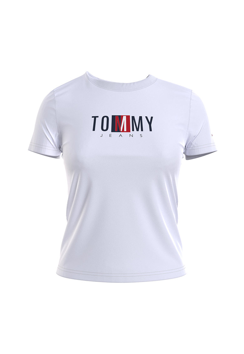 Tricou din bumbac organic cu logo brodat Tommy Jeans fashiondays.ro