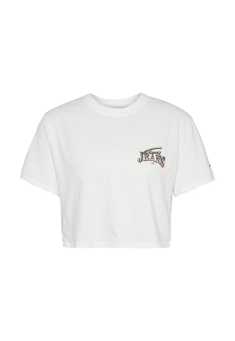 Tricou crop de bumbac organic cu imprimeu logo pe partea din spate Tommy Jeans fashiondays.ro