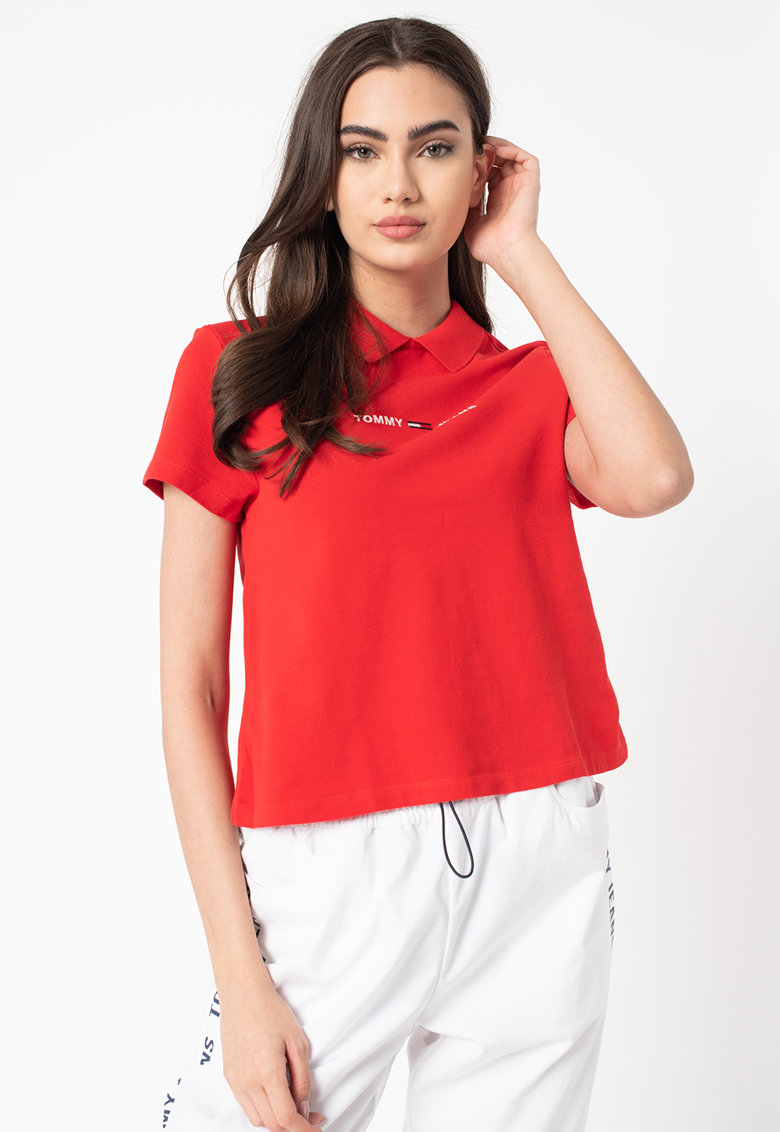Tricou polo regular fit de bumbac organic Tommy Jeans fashiondays.ro