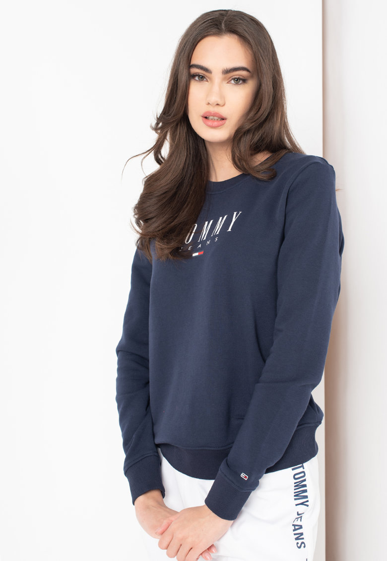 Bluza sport de bumbac organic cu logo Tommy Jeans fashiondays.ro