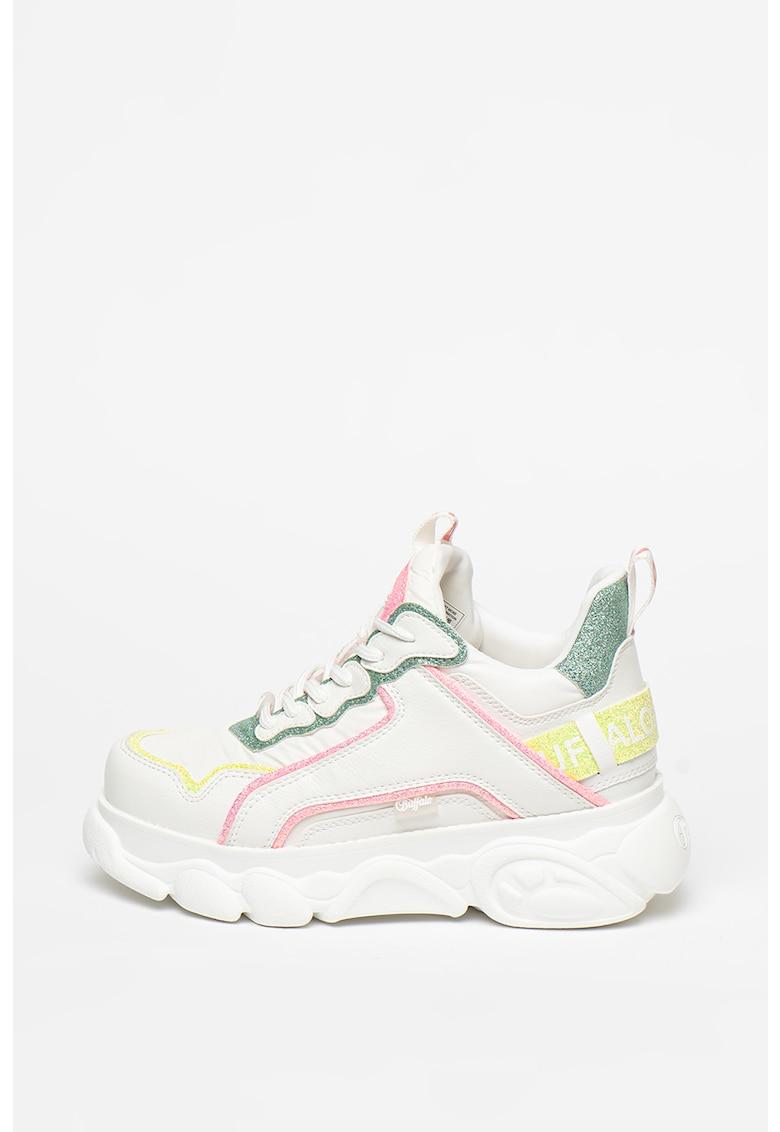 Pantofi sport wedge de piele ecologica si material textil cu aspect colorblock Chai Buffalo fashiondays.ro