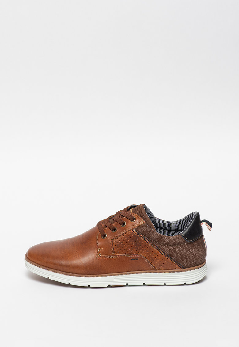 Pantofi casual din piele cu insertii din material textil