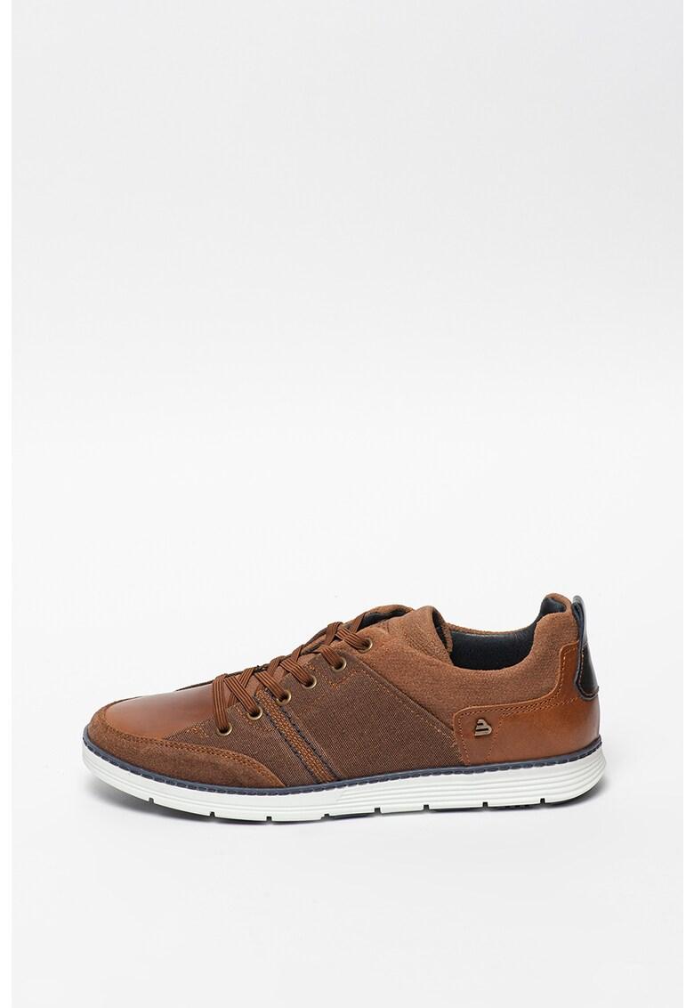 Pantofi casual din piele si piele intoarsa cu insertii din material textil imagine fashiondays.ro Bullboxer