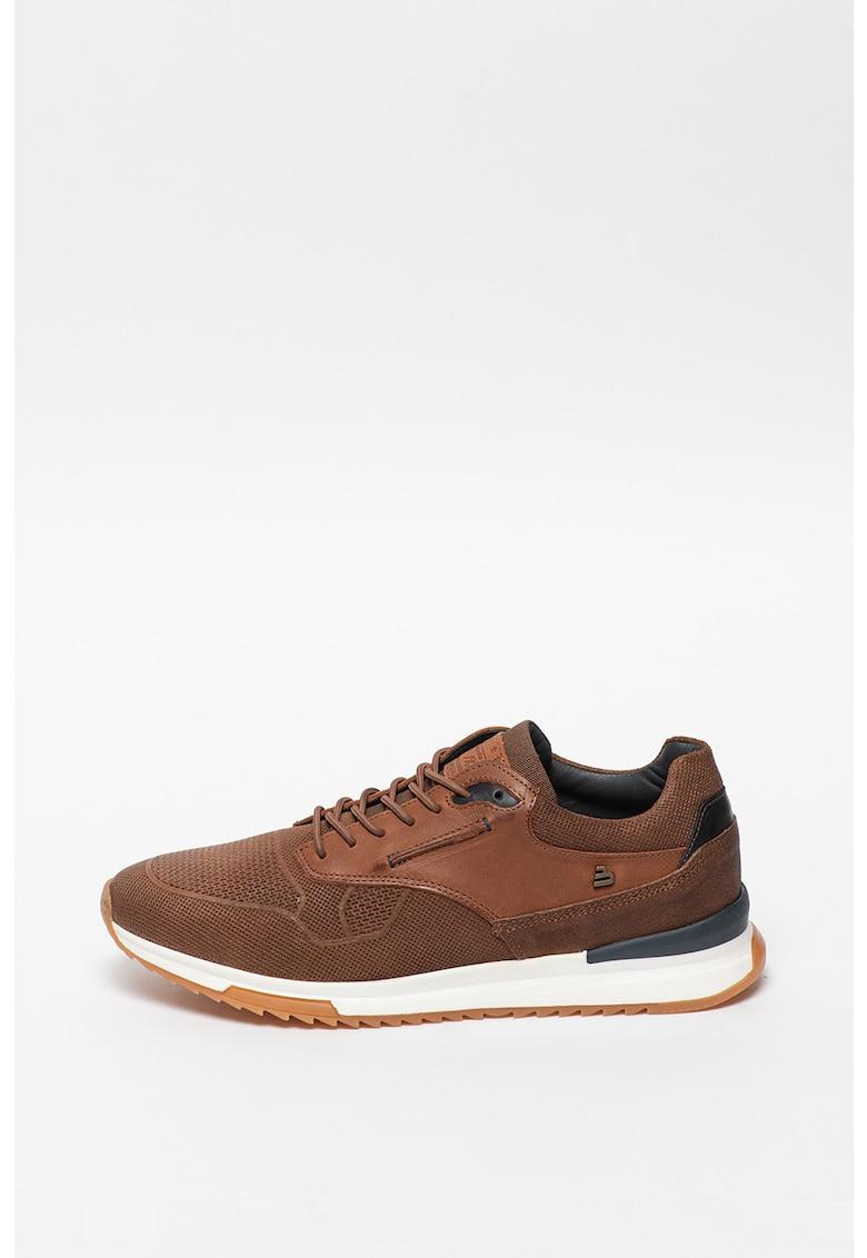 Pantofi sport din material textil cu insertii din piele