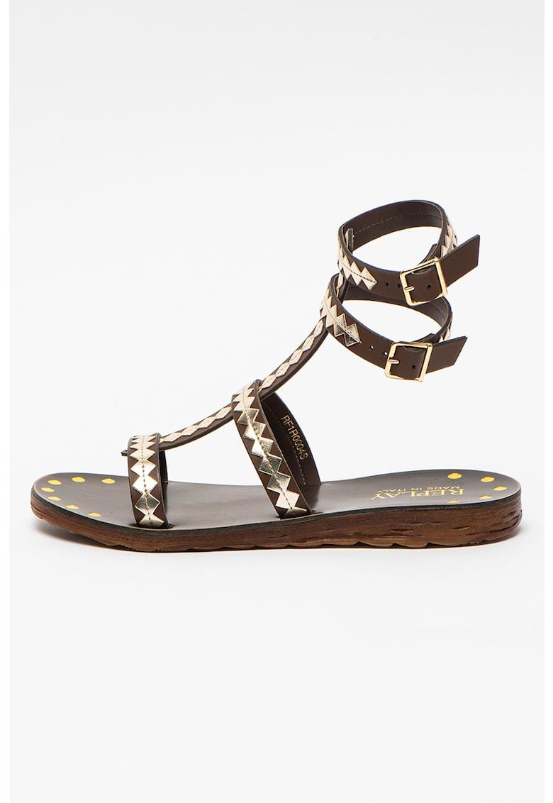 Sandale de piele ecologica cu bareta dubla pe glezna Enville