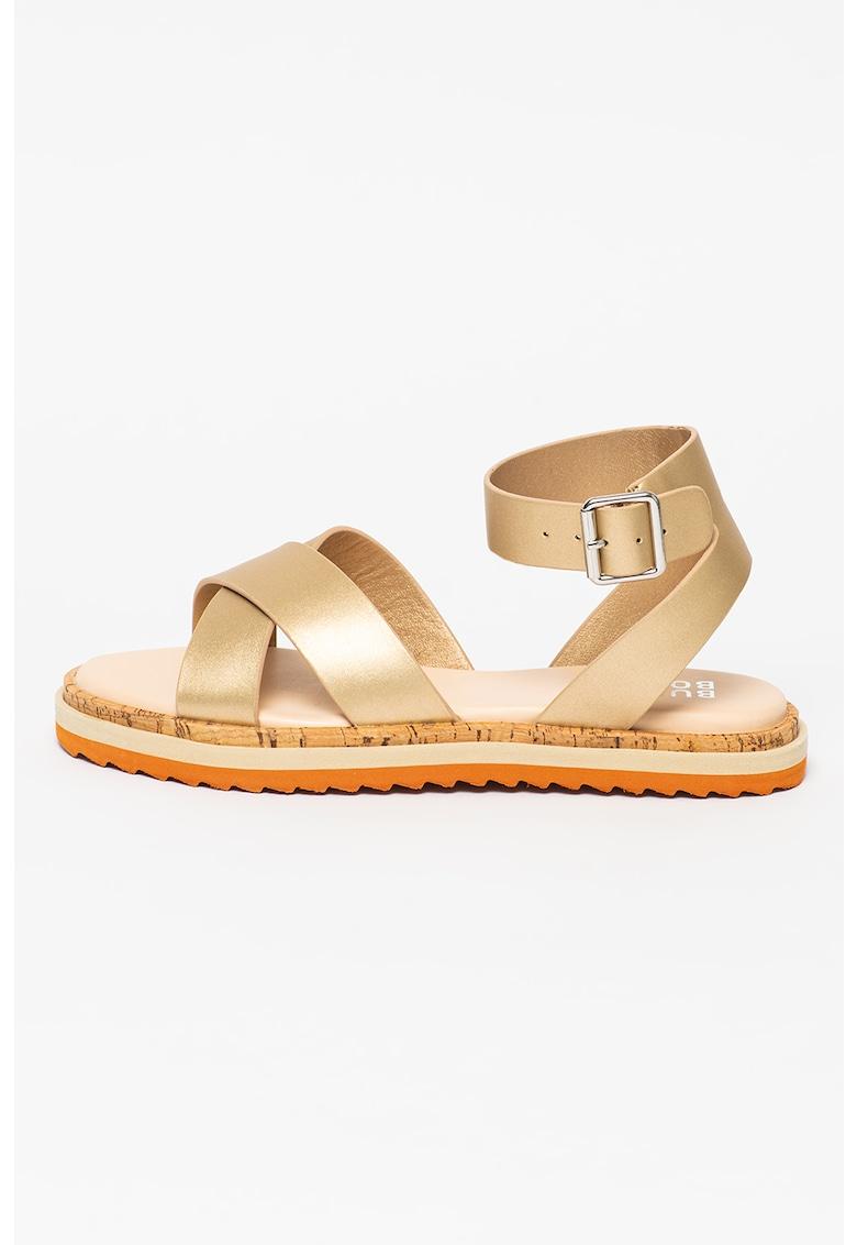 Sandale din piele ecologica cu barete incrucisate