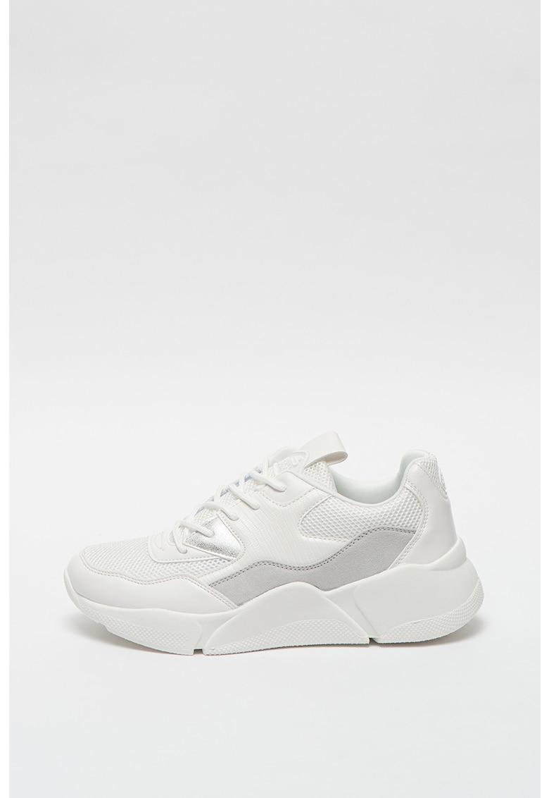 Pantofi sport wedge cu insertii de piele ecologica