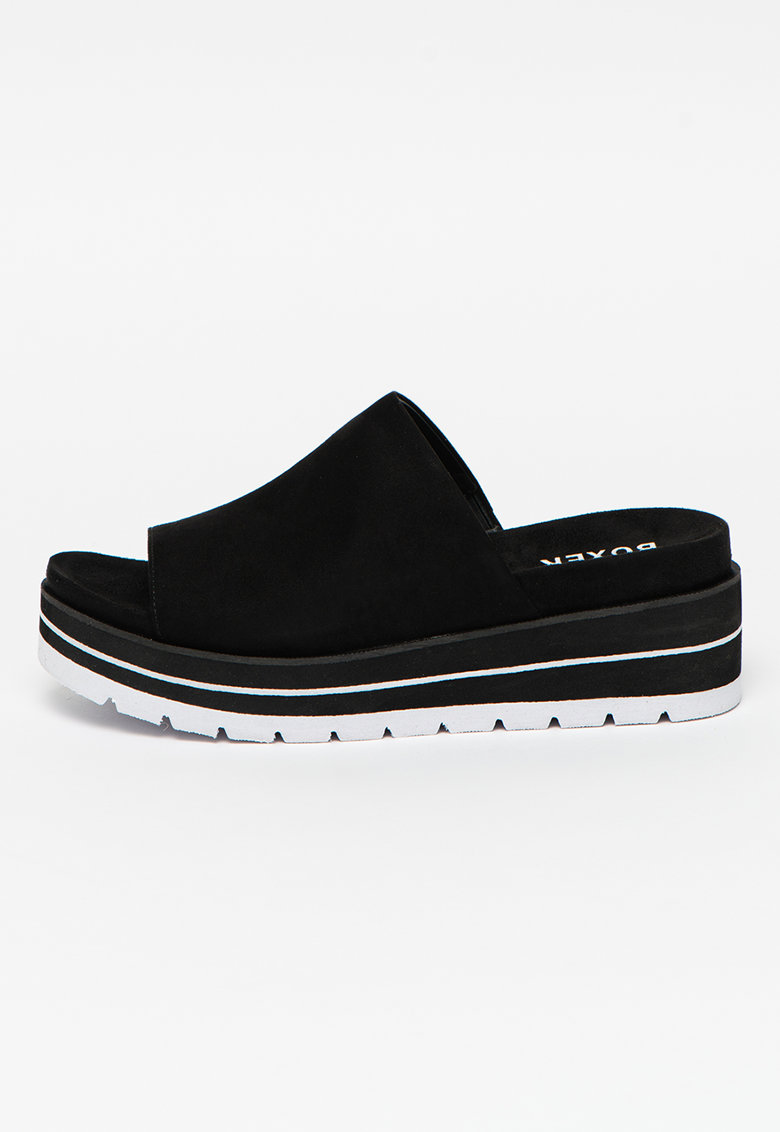Papuci cu talpa wedge si detaliu in dungi