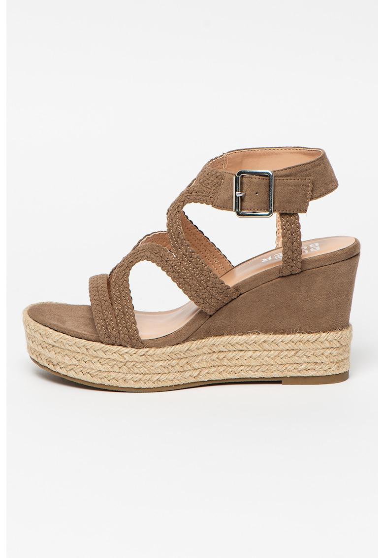 Sandale impletite tip espadrile cu talpa wedge