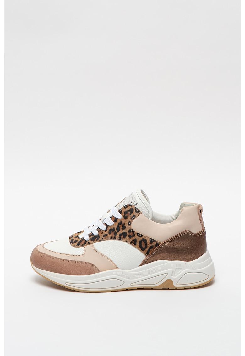Pantofi sport wedge de piele cu insertii de piele intoarsa