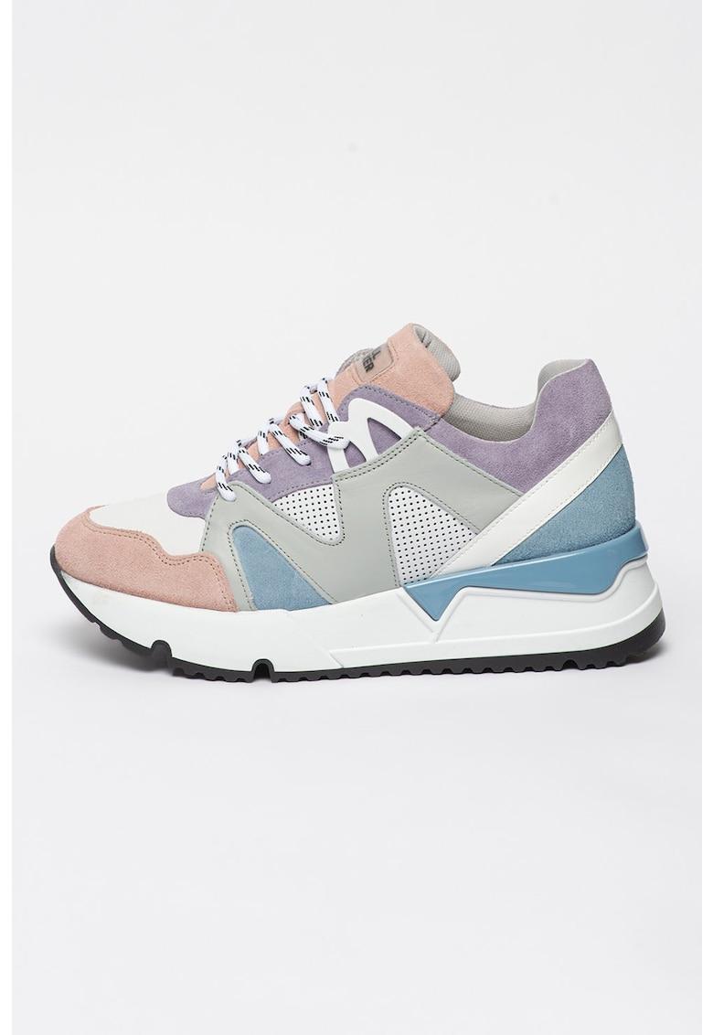 Pantofi sport de piele cu aspect colorblock imagine fashiondays.ro 2021