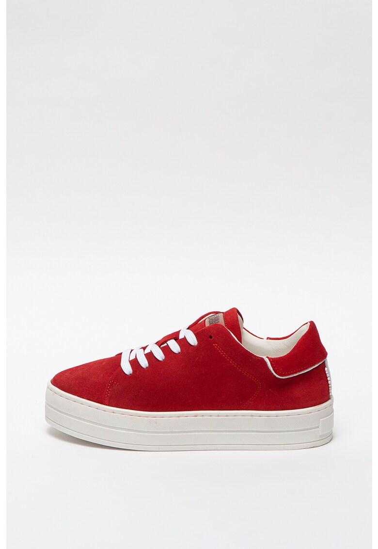 Pantofi sport flatform de piele intoarsa