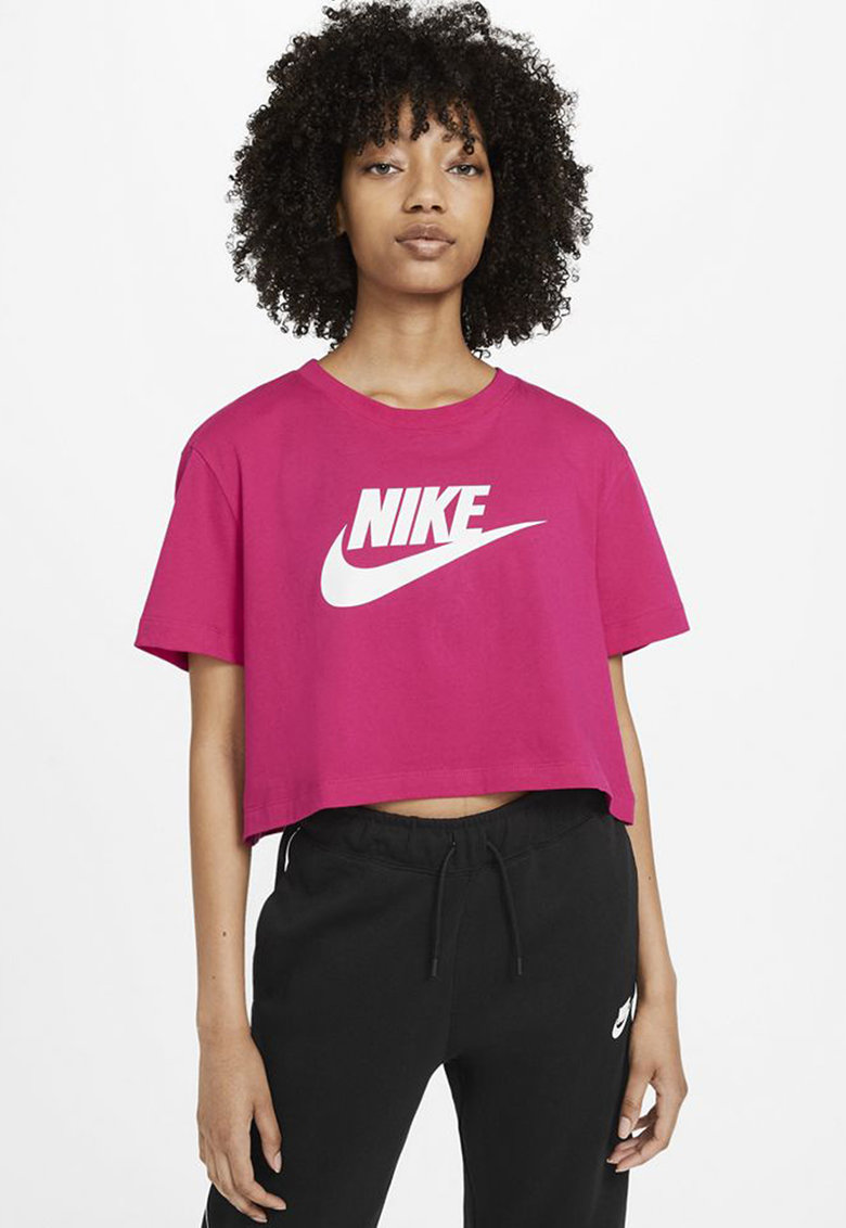Tricou crop cu imprimeu logo Sportswear Essentials imagine fashiondays.ro
