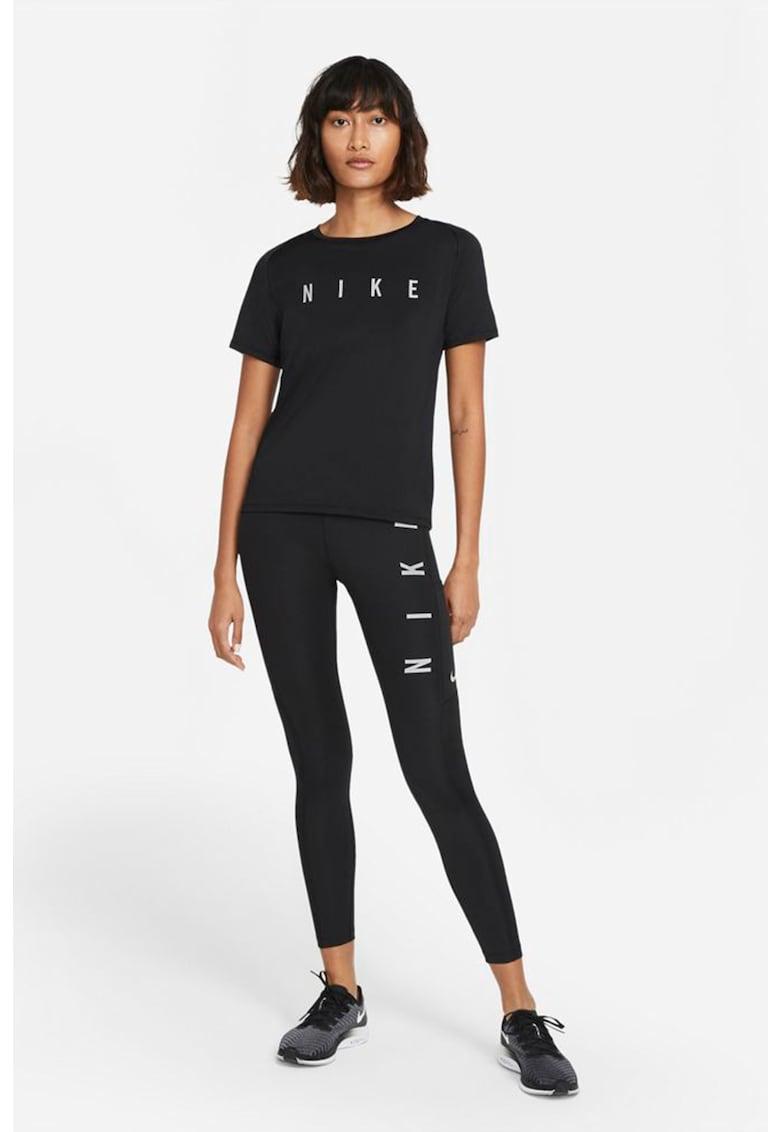 Colanti cu talie inalta - tehnologie Dri-Fit si imprimeu logo pentru alergare Fast Run Division imagine fashiondays.ro Nike