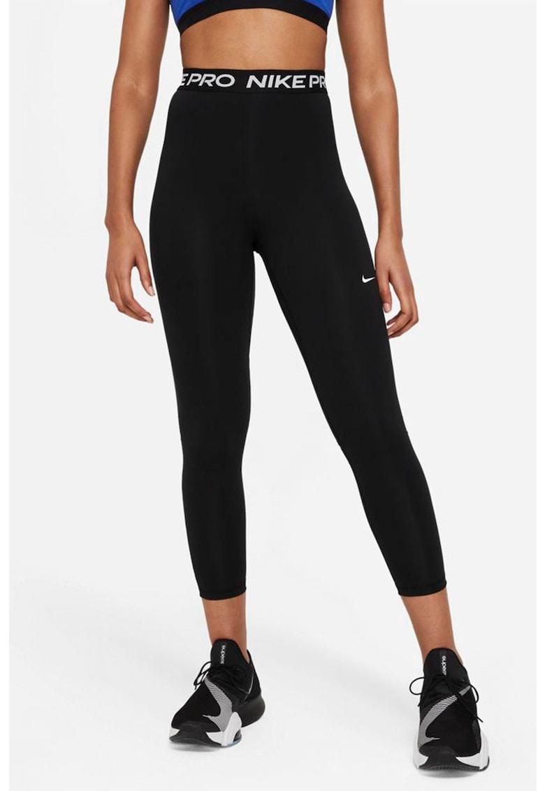 Colanti crop cu talie inalta si insertii de plasa Dri Fit imagine fashiondays.ro Nike