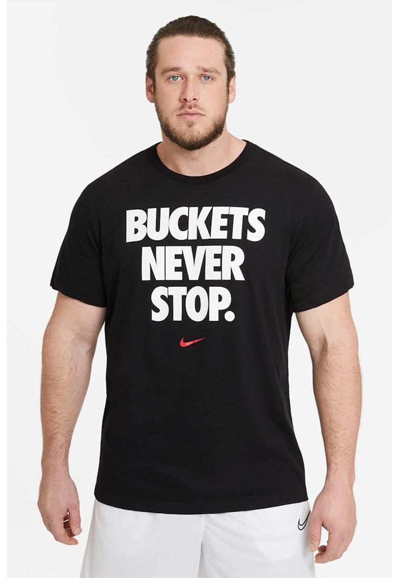 Tricou cu decolteu la baza gatului si imprimeu text pentru baschet fashiondays.ro