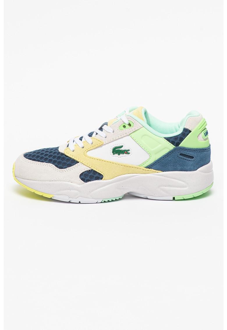 Pantofi sport cu model colorblock si detalii de plasa si piele intoarsa Storm 96