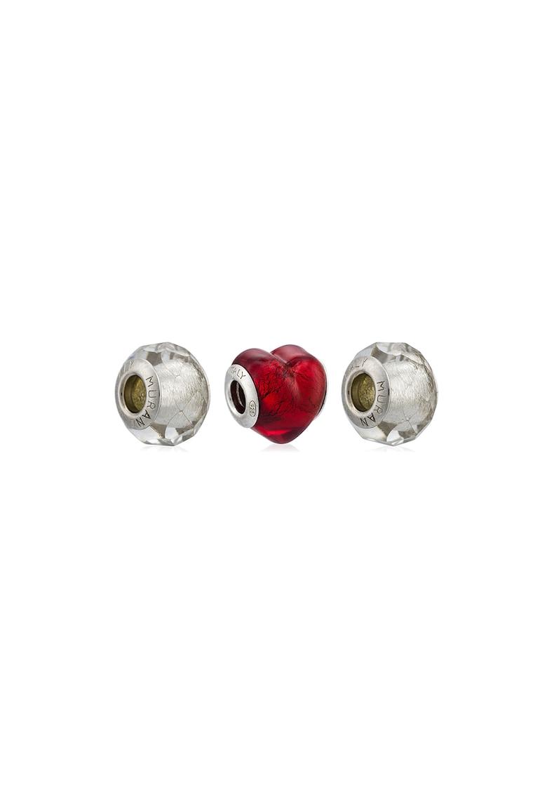 Set de talismane de argint veritabil si sticla murano - 3 piese poza fashiondays