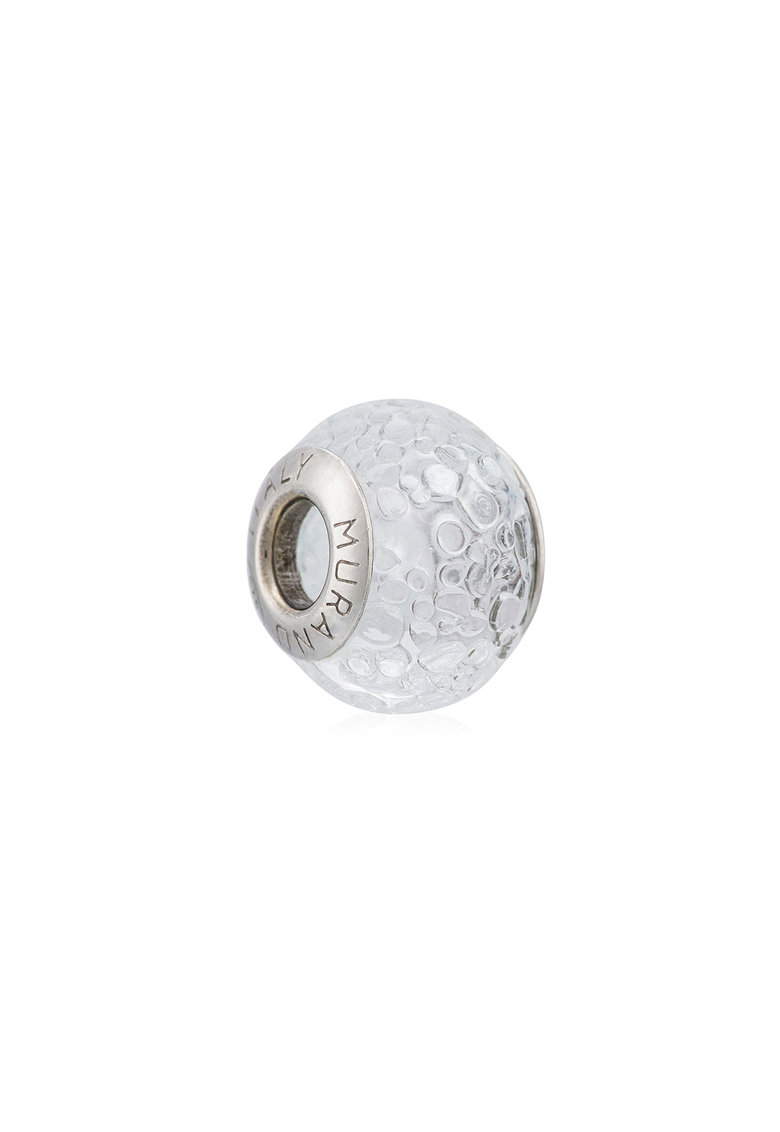 Talisman de argint veritabil si sticla Murano imagine