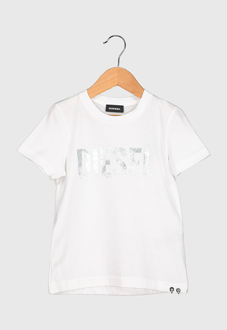 Tricou cu decolteu la baza gatului si imprimeu logo metalizat imagine promotie